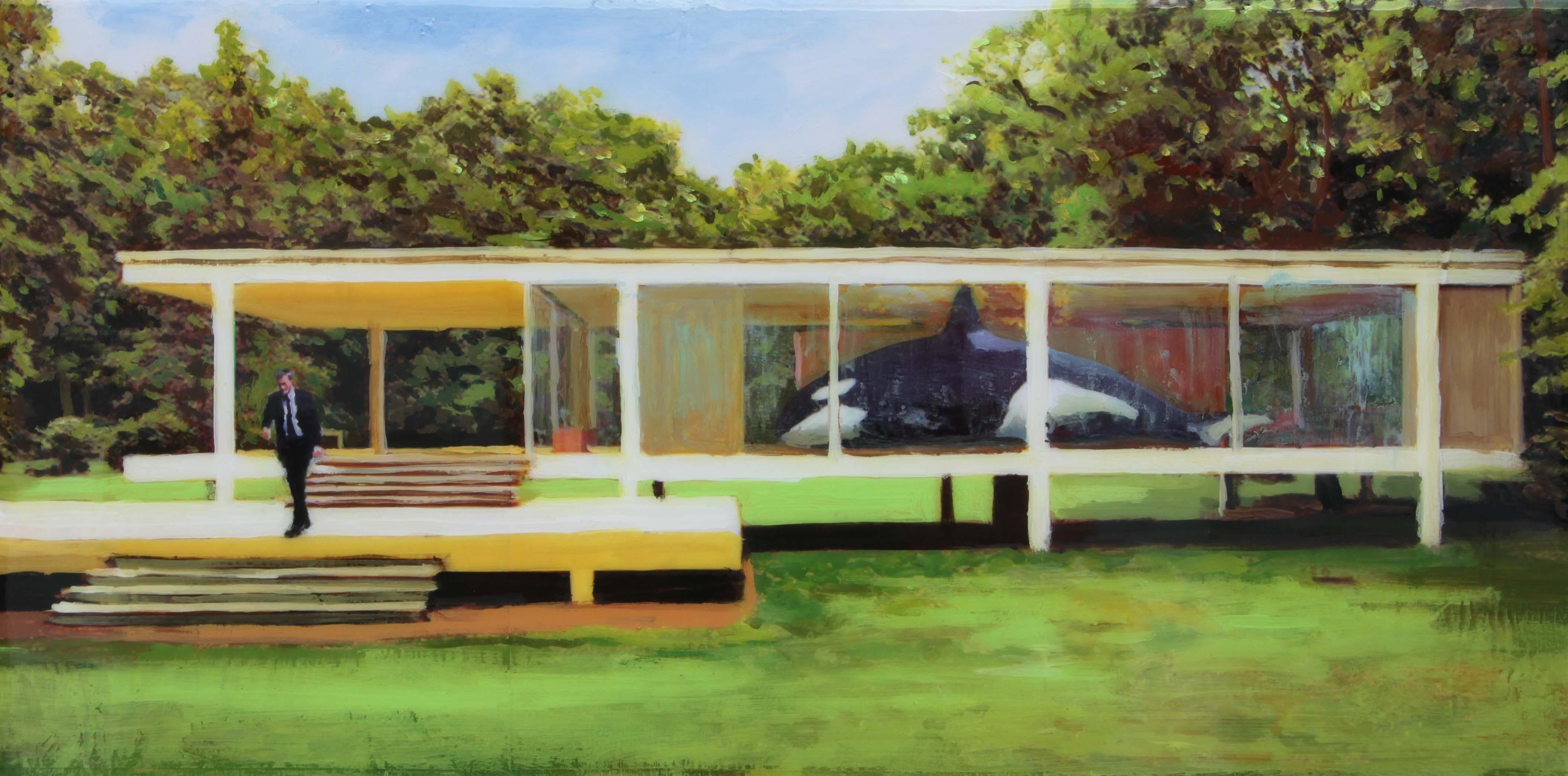 El coleccionista. 30x60 cm. Acrílico y resina sobre tabla