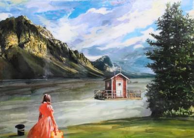 Let the river run. 89x116 cm. Acrílico y resina sobre tabla