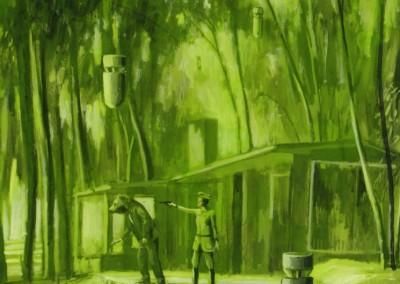 'Formas de acabar una guerra'. 150x100 cm. Acrílico y resina sobre tabla