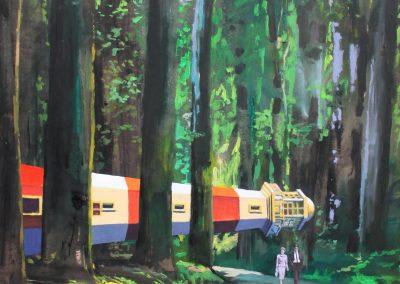 'No particular place to go'. 120x100 cm. Acrílico y resina sobre tabla