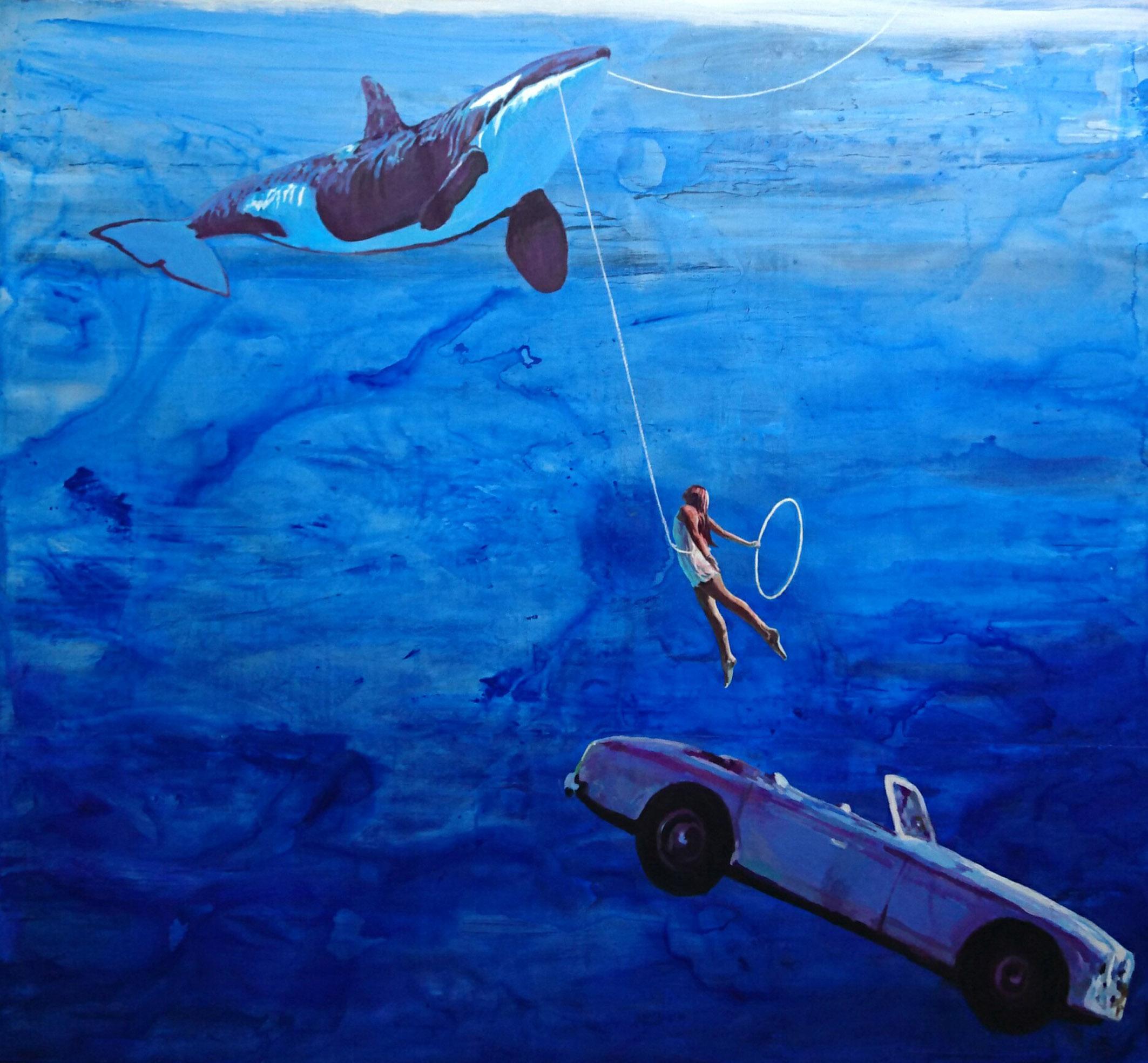 'Bahama girl'. 176x190 cm. Acrílico y resina sobre tabla