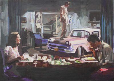 'La visita'. 30x60 cm. Acrílico y resina sobre tabla